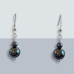 Sterling Silver Hematite Stone Earrings NEW